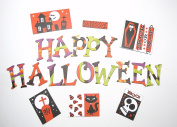 Halloween Theme Chipboard Uppercase Alphabet Letter 66 pcs - 3.8cm stickers