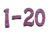 5.1cm Rose Pink Glitter self-adhesive Chipboard Table Numbers for Wedding / Banquets