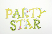 Yellow Star Party Glitter Chipboard Uppercase Alphabet Letter 60 pcs - 3.8cm stickers
