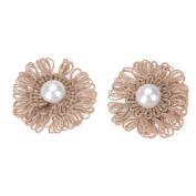 Whitelotous 10 pcs Natural Jute Flower with Artificial Pearl for Vintage Wedding Home Decor