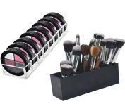 FLYMEI Acrylic Makeup Brush Holder Bundle Powder Holder, Blushes, Highlighters Eye shadow Organiser Makeup Organiser Cosmetics Beauty Storage Organiser Gift Set