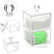 KeyZone Acrylic Double Tier Cotton Ball Storage Holder Cotton Swab Organiser Cotton Pads Box Dressing Table Decoration