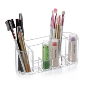 Aoert Acrylic Makeup Brush Holder - Clear Cosmetic Organiser With 8 Lattices For Makeup Brush, Lipstick