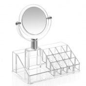 Aoert Acrylic Makeup Organiser With Mirror 2-Section Clear Cosmetic Organiser - 12 Lipstick Holder