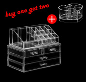 Acrylic Makeup Train Cases Jewellery and Cosmetic Storage Display Boxes with Two Large Box for Christmas .  Makeup Box(shipments From US)1115031155