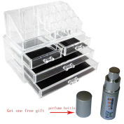 Spove Large Clear Makeup Box Plexiglas Cosmetic Jewellery Storage 4 Drawer Brush Display