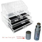 Spove Large Clear Makeup Box Plexiglas Cosmetic Jewellery Storage 4 Drawer Brush Display