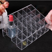 Plastic Clear Trapezoid Lipstick Holder 24 Square Makeup Cosmetic Storage Display Stand Rack Organiser