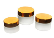 3Pcs 20ml/30ml/50ml Empty Upscale Refillable Cosmetic Cream Container Frosted Glass Bottle with Golden Lid and Inner Pad for Eye Shadow Nail Art Storage Jar