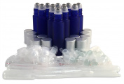 12 New, Premium Quality, 10ml Frosted Cobalt Blue Glass Roll-on Bottles with Stainless Steel Roller Balls, Glass Roller Balls, Plastic Roller Balls, Matte Aluminium Caps and (3) 3ml Plastic Droppers