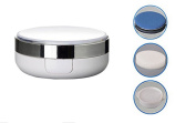 15g 15ml Empty Luxurious White Silver Edge Make-up Powder Container Air Cushion Puff Case with Sponge Powder Puff and Extra Inner Container Foundation BB Cream Box