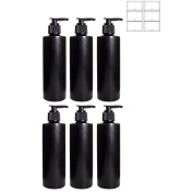 Black 240ml Plastic (BPA Free) Cylinder Empty Refillable Bottle with Black Lotion (Lock Down) Pump (6 Pack) + Labels