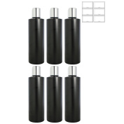 Black 240ml Plastic (BPA Free) Cylinder Empty Refillable Bottle with Silver Smooth Disc Caps (6 Pack) + Labels