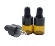 12 Pcs 1ml Empty Amber Glass Bottle with Glass Eye Dropper for Essential Oil