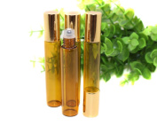 10ml Refillable Empty Amber Glass Roll-on Bottles with Metal Roller Balls and Golden Cap for Essential Oil Perfumes Lip Balms