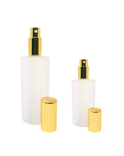 Perfume Studio Frosted Glass Refillable Fragrance Bottle Set with Gold Sprayers. Top Quality Glass Ideal for Perfumes, Colognes, Essential Oils, Beauty Sprays. Bonus Perfume Oil Vial