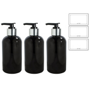 Black 240ml Boston Round Refillable PET (BPA Free) Plastic Bottle with Shiny Silver / Black Lotion Pump Top (3 pack) + Labels