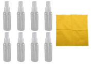 8 - 60ml Clear PET Bottle with Natural Fine Mist Sprayer & Microfiber Cloth
