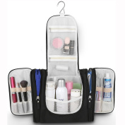 HOMIEHOME 5 Space Magical Travel Organiser Toiletry Bag - Large Capacity Foldable Waterproof with Linen Package Kit – Black