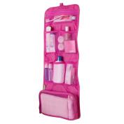 Shuohu Waterproof Travel Make Up Storage Clutch Handbag Foldable Hanging Bag - Pink