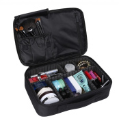 LOUISE MAELYS 2 Layers Makeup Artist Train Case Cosmetic Bag Shoulder Bag for Travel-Removable Dividers, Large Space