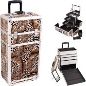 SUNRISE Professional Makeup Case on Wheels, Leopard Trolley Makeup Case - I3563