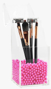 Putwo Clear Acrylic Makeup Organiser with Glossy Rosy Pearl - Small