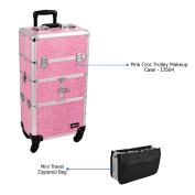 Sunrise Pink Croc Trolley Makeup Case - I3564 with PC05 Mini Travel Zippered Bag
