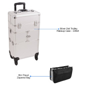 Sunrise Silver Dot Trolley Makeup Case - I3464 with PC05 Mini Travel Zippered Bag