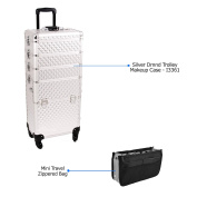 Sunrise Silver Dmnd Trolley Makeup Case - I3361 with PC05 Mini Travel Zippered Bag