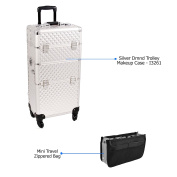 Sunrise Silver Dmnd Trolley Makeup Case - I3261 with PC05 Mini Travel Zippered Bag