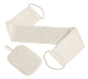 Beauty Back Scrubber Exfoliating Set With Loofah Sponge for Shower for Men and WomenBeige