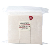MUJI Makeup Facial Soft Cut Cotton Unbleached Large Size 90x70mm 135pcs [Ship from Japan]