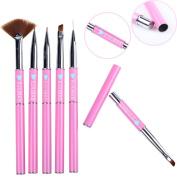 Ejiubas 6 Pcs Nail Art Brushes Nail Stamping Kits with Nail Stamper Scraper/Nail Art Tweezers/Nail Scissors Pink + Bag