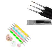 5 X 2way Dotting Pen Marbleizing Tool+3Pcs Nail Art Brush For Acrylic Nail Art