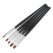 5Pcs Tiny Nail Art Acrylic UV Gel Pen Painting Flat Brush Set Tool by Big Bargain