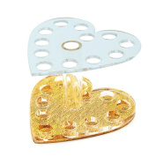 Heart Shape Acrylic Nail Art Cosmetic Pen Brush Holder Clear White+Gold