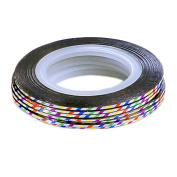 10Pcs Rolls Striping Tape Line Nail Art Tips Decoration Sticker, Colourful