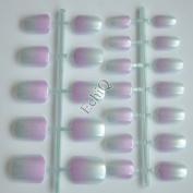 24pcs Artificial False Lady Nails Full Tips Gradient Colour Pearl Shine 12 Choice Light Blue Hot Pink #12