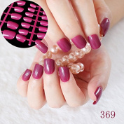 24pcs/kit Flat Candy Fake Nails Dark Purple Red Medium Nail Art Decoration Tips Carnival Colourful Press On Nails 369