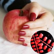Full Wrap Candy Fake Nails Deep Red Medium Nail Art Decoration Tips Press On Nails 089
