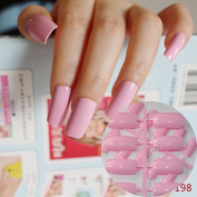 24pcs Flat Ultra Long Acrylic Nail Tips Princess Pink Fake Nails Full Wrap Finger Press-On Nails Easily DIY 198L