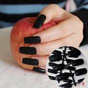 Flat Ultra Long Acrylic Nail Tips Pure Black Shiny Fake Nails Full Wrap Finger Press-On Nails Easily Use BL