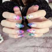Pointed Rainbow Fake Nails Kit Colourful Nail Tips Round Sequins Decoration Medium Z260
