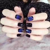 AB Glass Broken Pre-designed False Nails Black Finished UV French Nails Triangle Full Nail Tips Kit 24pcs in 10 sizes Z257