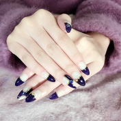 Gorgeous Pointed Navy Blue White Grid French Nails 3D Studs Decoration 24pcs Kit Z259
