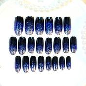 Nail Art Supplies Products Long UV Finished Black False Nails Glitter Decoration Acrylic Fake Nail Tips 24pcs Nail Set Z241