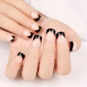 Nail Art Supplies Products Black Angle French Nails Beige Acrylic Fake Nail Tips 24pcs Nail Set Z240