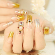 Flat Long False Nails Gold Silver Glitter French Nails 24pcs Pearl Rhinestones Studs Designed Salon Quality Z236