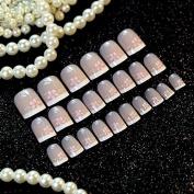 Flower Pattern False Nails Beautiful Beige Shiny Naiil Art Tips Gradient White French Nails Salon Quality Z239